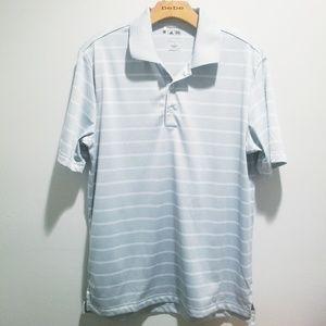 Adidas small pure motion gray striped polo